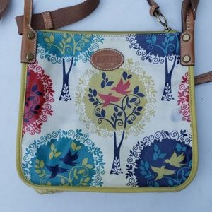 Fossil Multicolored Coated Bird Nature Crossbody
